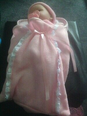 "18"" Lifelike Soft Bodied New Born Baby Doll in Swaddle Sleeping Blanket & Dummy"