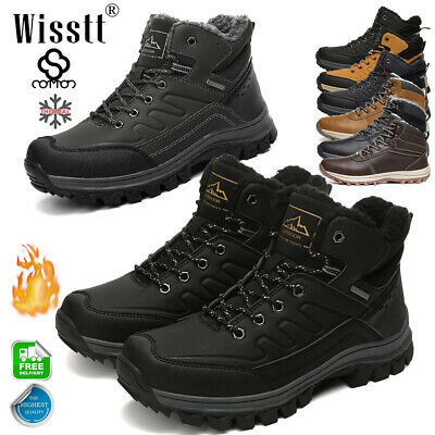 Winter Snow Boots Mens Work Boots Leather Lace Up Waterproof Outdoor Ankle Shoes