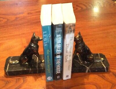 French Art Deco Spelter & Marble Book Ends Alsatian Dogs