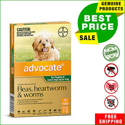 ADVOCATE Green Pack for Dogs Up to 4 Kg 3 Pipettes heartworm flea worm treatment