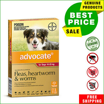 ADVOCATE Red Pack for Dogs 10 to 25 Kg 3 Pipettes heartworm flea worm treatment