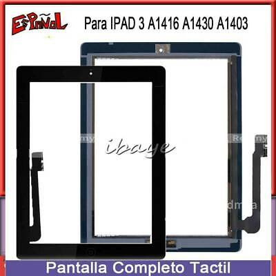 Para iPad 3 Touch Screen Pantalla Tactil Táctil Digitalizador Cristal+BOTÓN