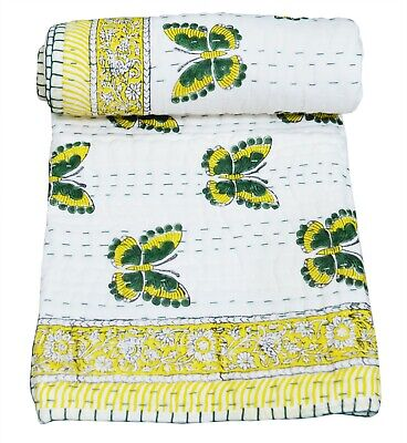 Butterfly Print Indian 100% Cotton Kantha Quilt Bed Cover Throw Toddler Coverlet