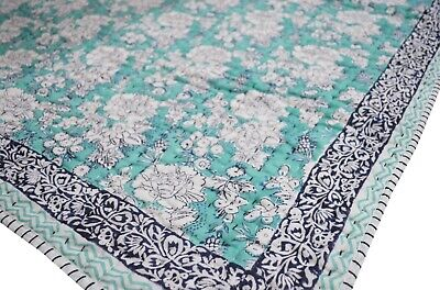 Cotton Handmade Indian Floral Baby Bedspread Throw Toddler Kantha Quilt Coverlet