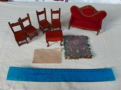 1:12 scale dolls house furniture table, chairs, settee sofa, rug