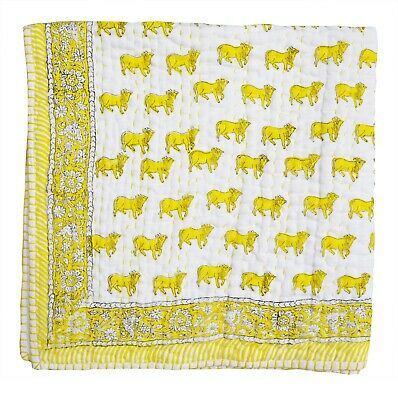 Ethnic Animal Printed Indian Cotton Toddler Baby Kantha Quilt Bedspread Coverlet
