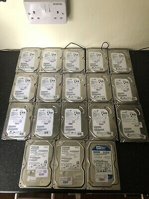 """Job Lot of 18 x Various Brands 3.5"""" 500GB SATA Hard Drives Wiped and Tested"""