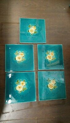"Set Of 5 Antique Fireplace Tiles, Washstand Tiles, Floral 6"" x 6"""