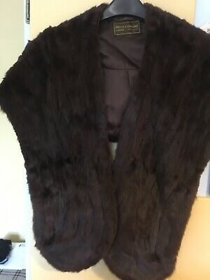 Beautiful Vintage Real Fur Stole With Pockets Very Good Condition