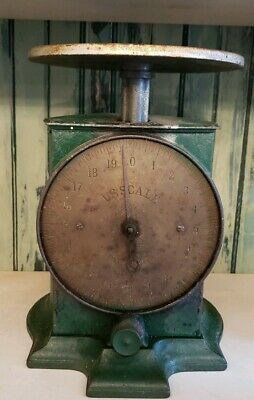 Antique Kitchen Countertop Scale Cast Iron green farmhouse primitive early