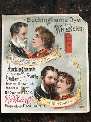"""Vintage Victorian Trade card """"Buckingham's Dye"""" for the Whiskers, 1880's era"""