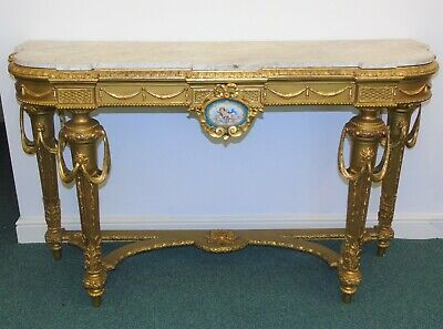 19th Century Louis XVI Style Gilt and Marble Topped Console Table