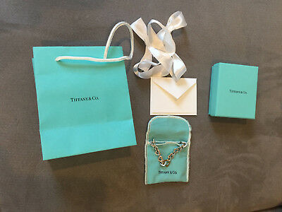 Authentic Tiffany & Co Sterling Silver 18k Gold Heart Link Necklace box pouch Ba