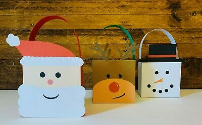 6 x Christmas Craft Treat Bags - Gift Toy Party Gift Bag