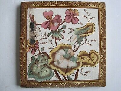 Antique Victorian Transfer Print & Tint Tile - Pink Geranimum Design C1895