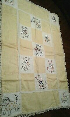 "Vintage Baby Child's QUILT Yellow & White Embroidered 38"" x 27"""