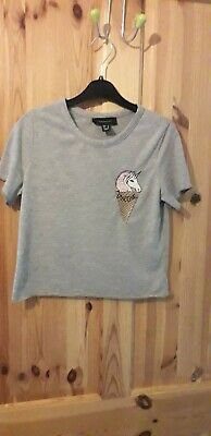 Ladies Womans Girls Cropped Top. Grey with unicorn motif. Size 6