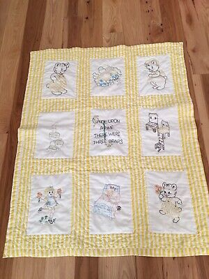 VintageBaby Quilt Yellow White Goldilocks And The Three Bears Hand Embroidered