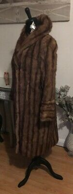 Exquisite Real Fur Long Demi-Buff Natural Mink Coat Size 10 ~ 12