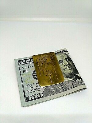 Skull Money Clip in Sterling Silver Plated White bronze and Brass Money Clip 129