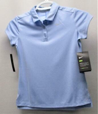 New SMALL Girls Nike Dri Fit Victory light blue golf polo shirt