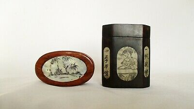 Chinese 2 Mini Wooden Boxes Inlaid Etched Pieces of Bone and Mother of Pearl