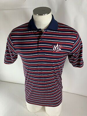 Majestic Men's USA Baseball Polo Shirt Red White Blue Striped Olympics SMALL
