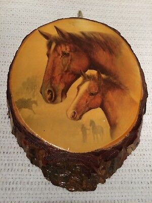 Vintage New Mexico Art Wood Log Slice Painted Glossy Horse Profile Wall Decor