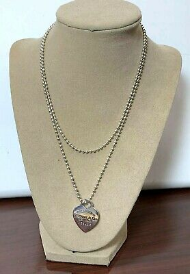 "Tiffany & Co Sterling Silver Return To New York M58485 Heart Tag On 34"" Necklace"