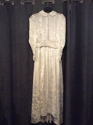 VINTAGE ANTIQUE BEAUTIFUL WOMENS WEDDING DRESS GOWN 1930 Approx Size 10