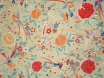 Antique Heavy Embroidered Silk Piano Shawl Cover Fringe Floral Bird Asian VTG