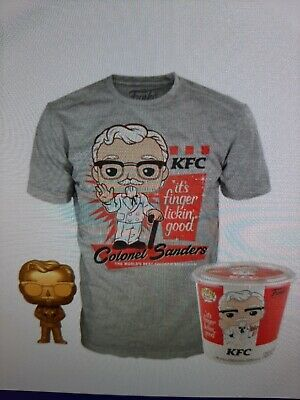 Funko Exclusive.Pop! Ad Icons: KFC - Gold Colonel Sanders + Pop! Tee
