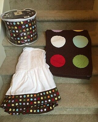 Baby Gap Bedding Unidot Crib SET Brownie Striped Polka Dot Reversible BabyGap