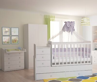 78862343, Polini Kids Kinderzimmer Set in weiß  Kommode Schrank Bett