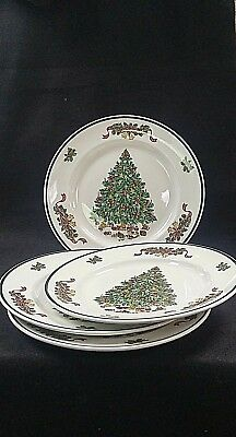 JOHNSON BROTHERS Victorian Christmas Dinner Plate Set of 4 MADE IN ENGLAND