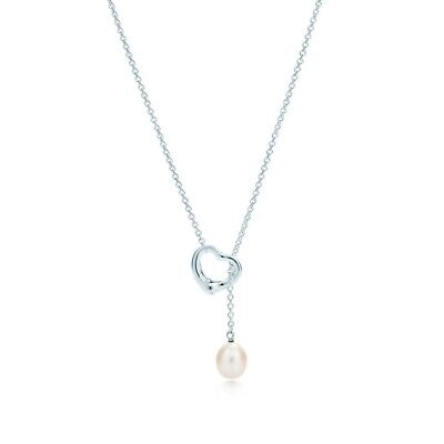 Authentic Tiffany & Co Sterling Silver Open Heart Pearl necklace-Gorgeous!