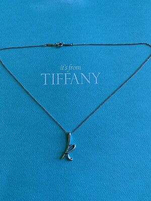 Authentic Tiffany & Co S. Silver Elsa Peretti Initial K necklace-265$