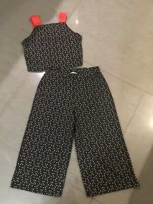 Girls Smart 2 Pce Outfit Trousers And Midi Top Black & White Spot Matalan Age 11
