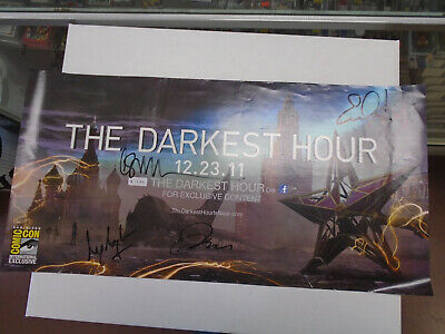 """SDCC the Darkest Hour Cast Signed Poster by 4 11"""" by 22"""" Emile Hirsch"""