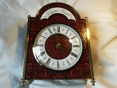 Wonderful Vintage Kienze Automatic Tempus Fugit Brass Enamel Quartz Mantel Clock