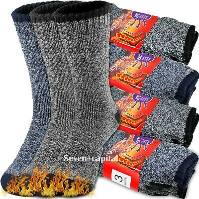 3-12 Pairs Mens Heavy Duty Winter Warm Thermal Heated Work Crew Boots Socks 9-13