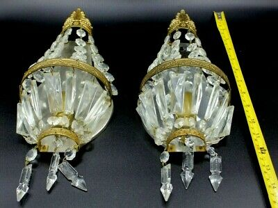 Pair of French Crystal basket Prisms Bronze Sconces Empire Style