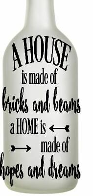 Vinyl Decal Sticker for Wine bottle diy a house is made of bricks and beams love