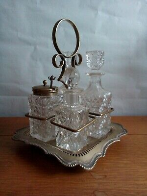 Vintage Antique? Glass and Silver Plate EPNS Cruet Set