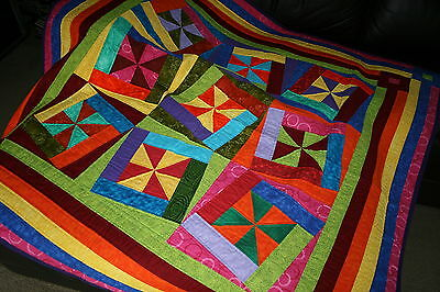 "**Hand Made Quilt ""FANDANGO"" Design by Quilt-Addicts 55"" square"