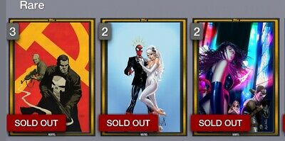 2019 Marvel Collect Card Trader Gold Comic Covers Set Of 3 1000 CC Digital Card