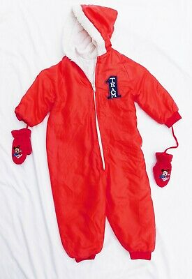 Vtg 60's 70's Toddler Baby Lined One Piece Red SNOW SUIT w Mickey Mouse Mittens
