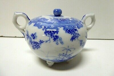 Blue White Egg Shell Porcelain China Japanese Flowers Hand Painted Sugar Bowl