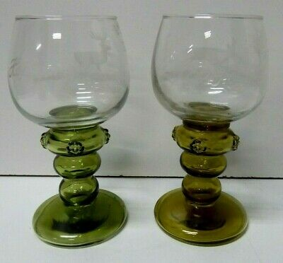 Pair Vintage Etched Deer Forest Hock Glasses Ornate Green Glass Stem Hopfgarten