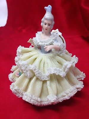 Antique Dresden Germany Porcelain LACE Lady Figurine Sitting on Chair Signed